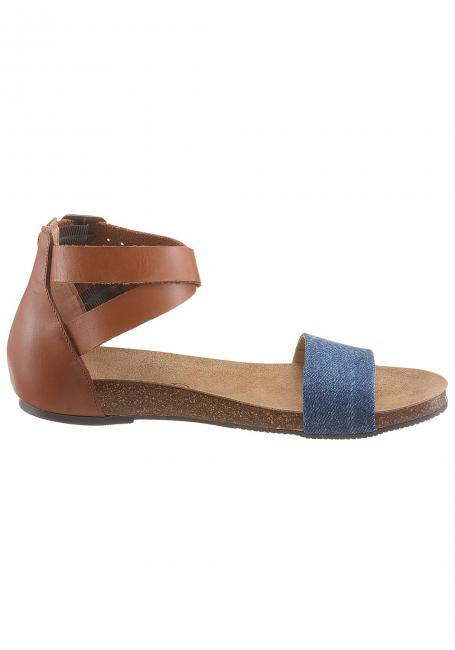 Leder-Sandale mit Textileinsatz