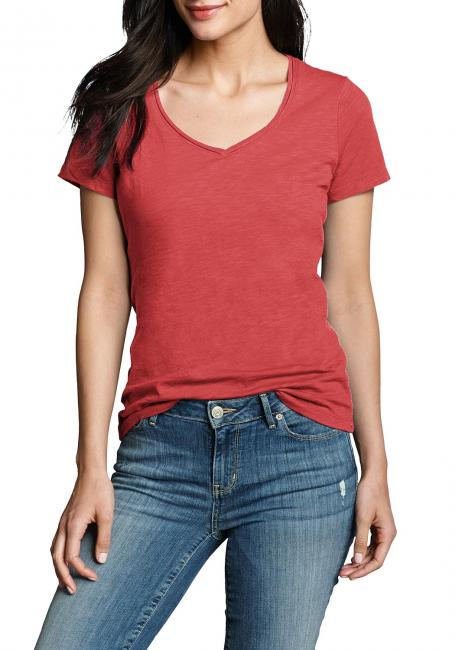 Essential Slub Shirt - Kurzarm mit V-Ausschnitt