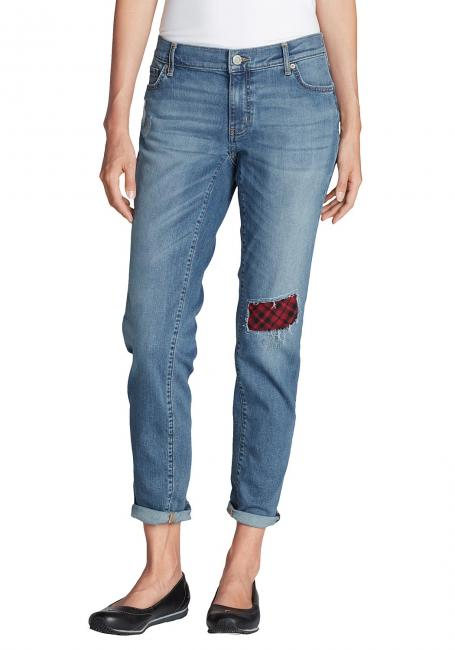 Boyfriend Jeans mit Flanellpatch