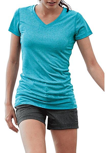 Resolution T-Shirt mit V-Ausschnitt - gestreift