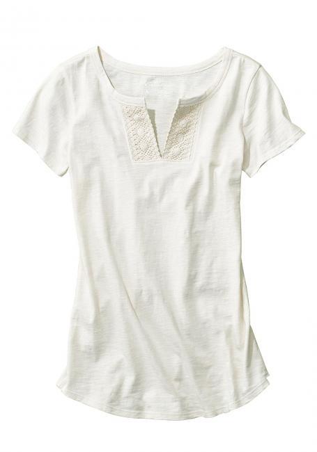 T-Shirt mit Häkel-Details kurzärmlig