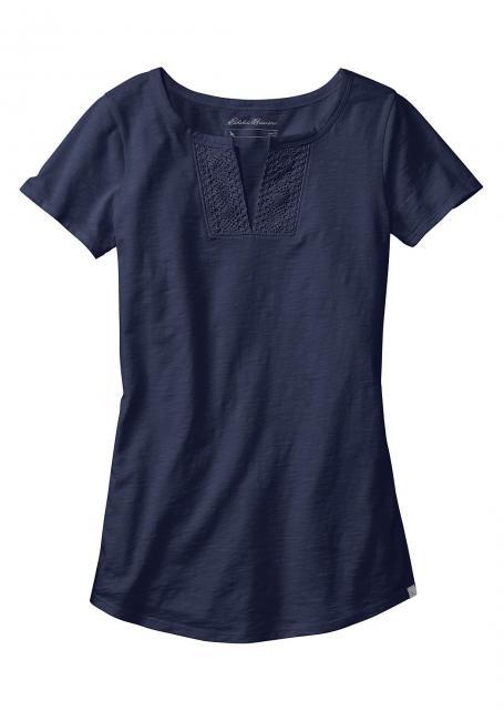 T-Shirt mit Häkeldetails - kurzarm