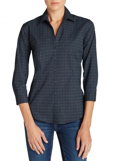 Knitterarme Bluse - 3/4-Arm - bedruckt