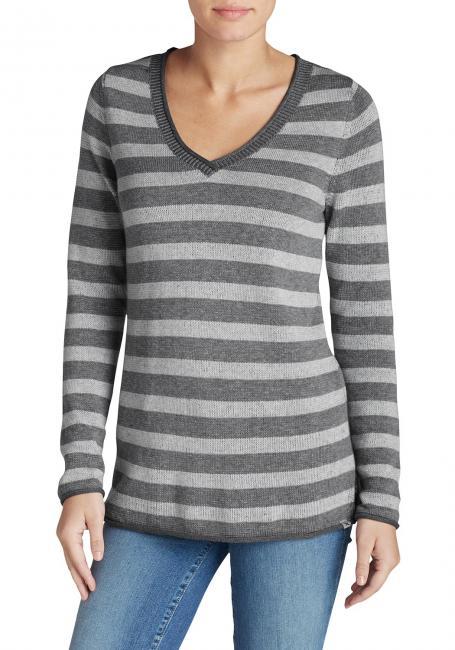 Pullover mit V-Ausschnitt geringelt