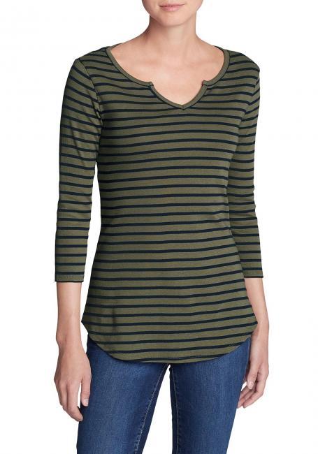 Favorite Shirt - 3/4 Arm mit Y-Ausschnitt - Gestreift