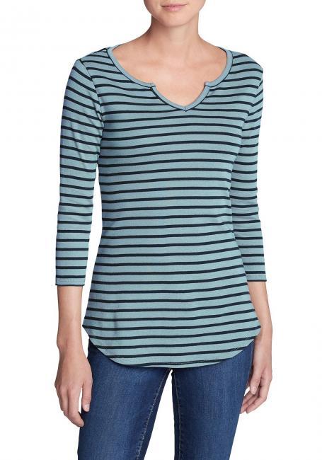 Shirt Mit 3/4 Arm Und Y-Ausschnitt - Gestreift