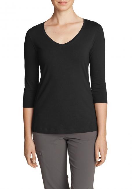 Lookout T-Shirt mit V-Ausschnitt - 3/4-Arm - uni