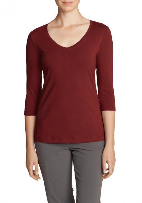 Lookout T-Shirt mit V-Ausschnitt und 3/4-Ärmel - Uni