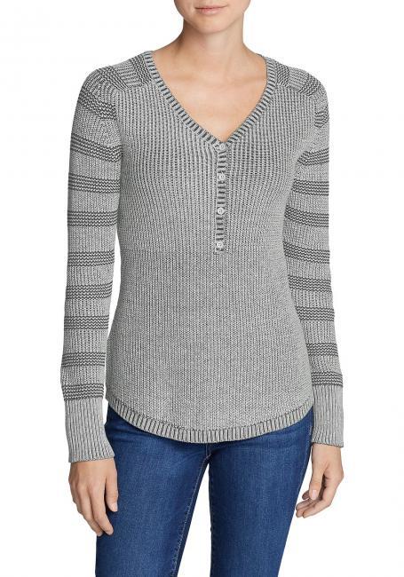 Sweatshirt-Pullover - Henley - gestreift