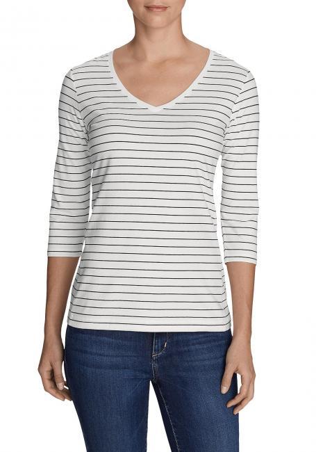Lookout T-Shirt mit V-Ausschnitt - 3/4-Arm - geringelt