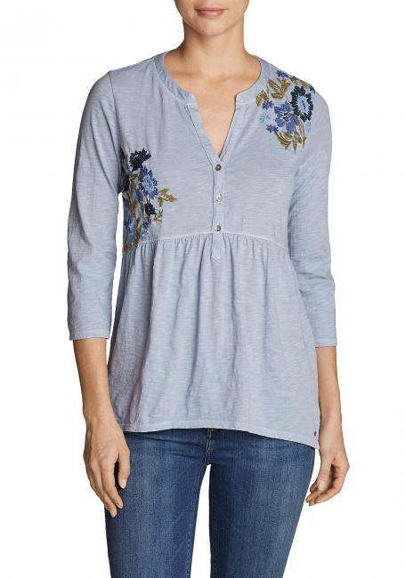 Mountain Meadow Henley - 3/4-Arm - bestickt