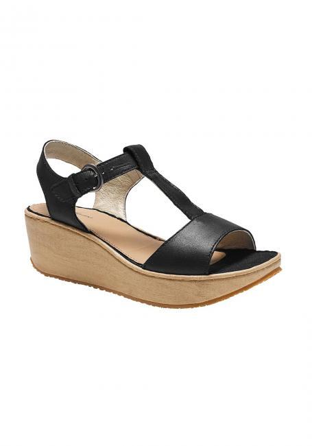 Kara Sandale mit Keilabsatz in Holzoptik