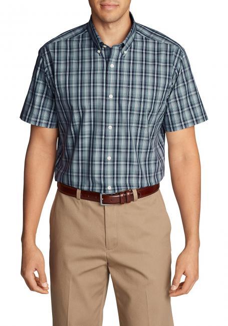 Knitterarmes Pinpoint Oxfordhemd - Kurzarm - Relaxed Fit - Blautöne
