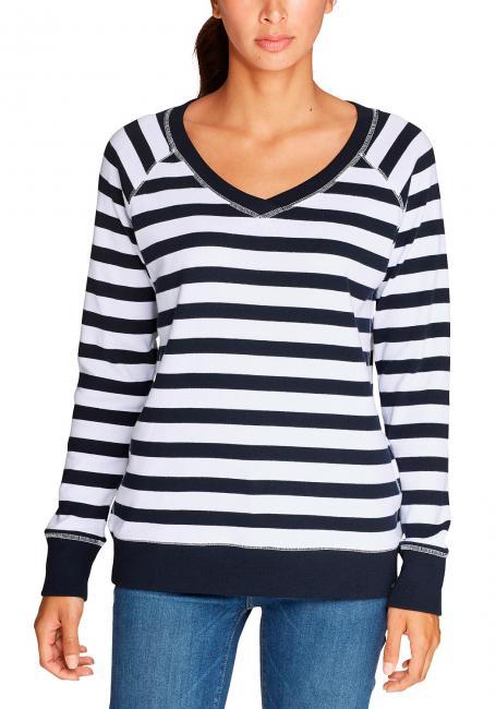 Legend Wash Sweatshirt - mit V-Ausschnitt - geringelt