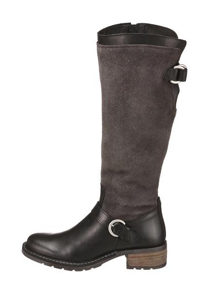 Leder-Stiefel mit Weitenregulierung