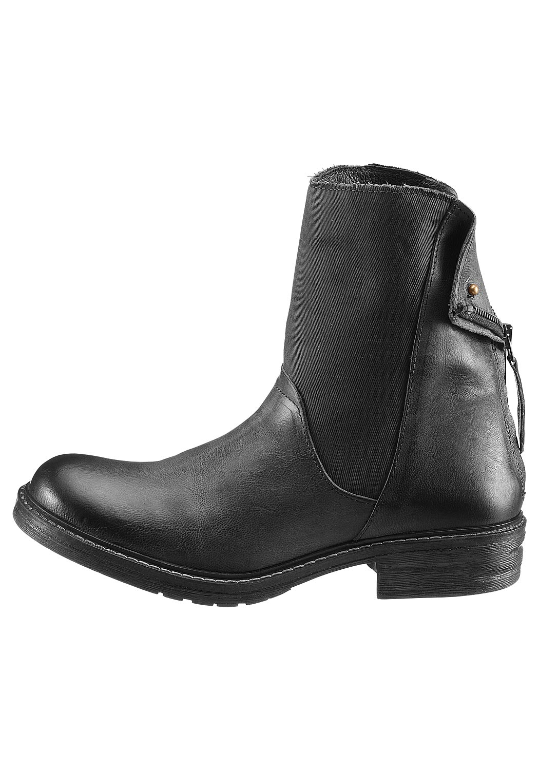 Leder-Stiefelette in Antik-Optik
