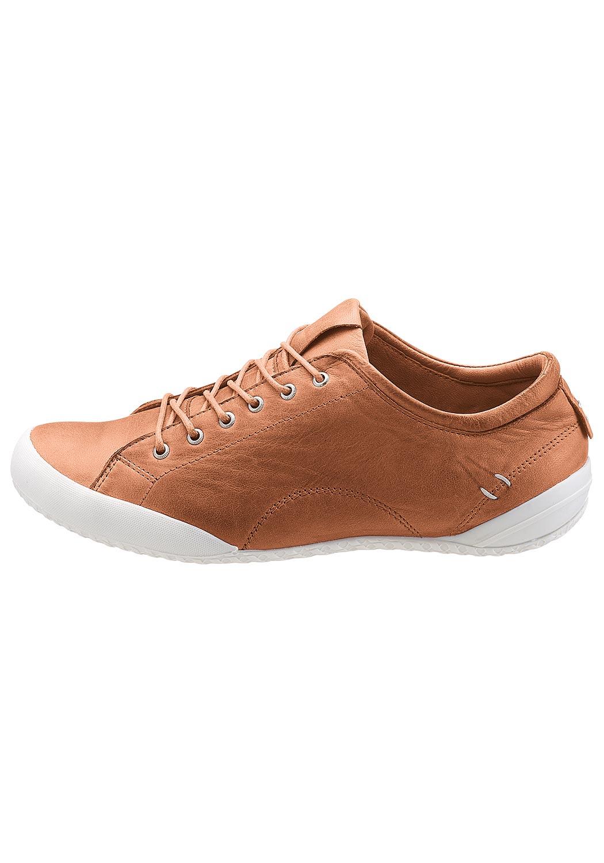 Leder-Sneaker mit kontrastfarbener Sohle