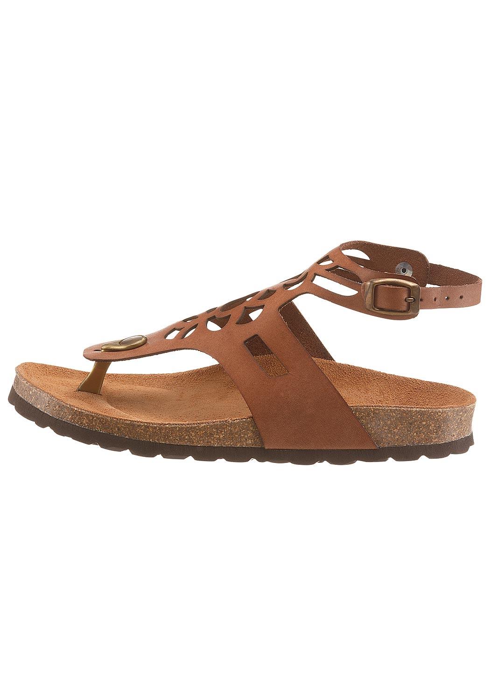 Leder-Sandale mit gestanztem Muster