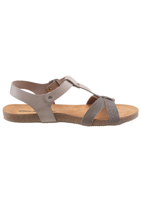 Leder-Sandale mit dekorativer Prägung